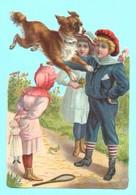 Chromo Découpis Grand Format. Enfants Et Chien Volant. Gaufré. - Children