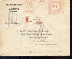 Heerlen Staatsmijnen - Aangetekend 1930 - Aken Hoofdkassier - Postal Stationery