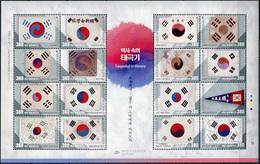 South Korea 2019. History Of The Taegukgi - Korean Flag (MNH OG) Sheet - Corée Du Sud