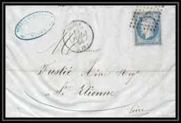 7330 LAC 1858 N 14 Napoleon 20c TB Pc 2272 Nimes Gard St Etienne Loire France Lettre Cover - Marcofilia (sobres)