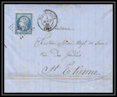7340 LAC 1861 N 14B Napoleon 20c Pc 2079 Montelimar Drome St Etienne Loire France Lettre Cover - Storia Postale