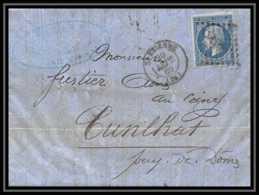 7342 LAC 1860 N 14 Napoleon 20c TB Pc 3053 St Etienne Loire Pour Cunlhat Puy-de-Da'me France Lettre Cover - Marcophilie (Lettres)