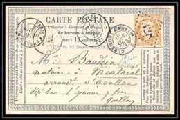 8741 LAC N 59 Ceres 15c GC 1328 DonzyNievre 1873 Pour Montreal Yonne France Precurseur Carte Postale (postcard) - Cartes Précurseurs