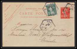 9230 Semeuse 10c Complement Paris Recette Auxiliaire Munich Allemagne 1914 France Carte Postale Entier Stationery - Postwaardestukken