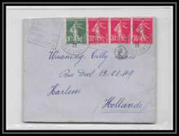 9329 N°191 Semeuse 30c X3 + 159 1925 Bourbon-l'Archambault Allier Harlem Pays-Bas Netherlands France Lettre Cover - Marcophilie (Lettres)