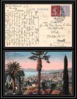 9363 N°200 Semeuse 60c + 189 Menton Petersfield Grande Bretagne Great Britain 1926 France Carte Postale Postcard - 1921-1960: Periodo Moderno