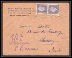9541 Entete Mutuelle Ministere De La Justice N°689 Dulac Paire 1945 St Brieuc France Lettre Cover - Marcofilie (Brieven)