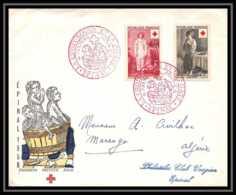 9869 N°1089/1090 Croix Rouge (red Cross) 1956 Epinal Fdc Premier Jour France Lettre Cover - Cruz Roja