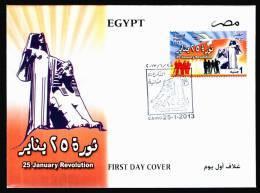EGYPT / 2013 / 25 JANUARY REVOLUTION / EGYPT'S RENAISSANCE STATUE BY : MAHMOUD MOKHTAR / DOVE / FDC - Brieven En Documenten