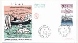 TAAF - Enveloppe FDC - 2,20 20eme Anniversaire Du Marion Dufresne - Port Aux Français Kerguelen - 1-1-1993 - FDC