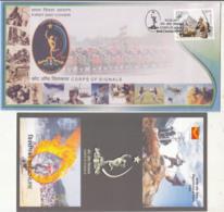 India FDC +  Info., Corps Of Signals, Elecom, Radar, Radio  Defence, Motorbike Parade, Hermes, Jeep, Sport Hockey Boxing - FDC