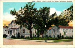 Kansas Manhattan First Christian Church Curteich - Manhattan