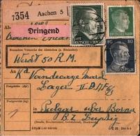 ! 1943 Paketkarte Deutsches Reich, Aachen, An Fremdarbeiterlager Pulgar Bei Borna, Böhlen - Allemagne