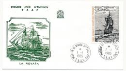 TAAF - Enveloppe FDC - 12,80 Frégate La Novara - Martin De Vivies / St Paul Et Ams. - 6 Aout 1985 - FDC