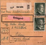 ! 1943 Paketkarte Mit Fehldruck Bad MEs, Deutsches Reich, Bad Ems - Briefe U. Dokumente