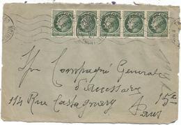MAZELIN 90C PREO BANDE DE 5 DEVANT LETTRE PARIS MARS 1947 AU TARIF - 1945-47 Ceres Of Mazelin