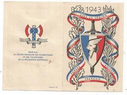 CARTE DOUBLE CALENDRIER 1943 LEGION FRANCAISE COMBATTANTS DES VOLONTAIRES + FRANCISQUE - Postmark Collection (Covers)