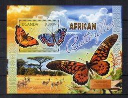 UGANDA - 2012 - Foglietto Tematica  Animali - Farfalle - Nuovo ** - (FDC19016) - Uganda (1962-...)