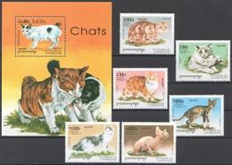 C553 1998 DU CAMBODGE FAUNA ANIMALS PETS CHATS CATS 1BL+1SET MNH - Domestic Cats