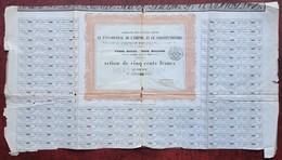 Action De 500 F Compagnie Des Journaux Réunis 1852 . Le Pays-Journal De L'Empire . Le Constitutionnel . Rare . - Actions & Titres