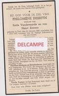 DOODSPRENTJE DESSEYN PHILOMèNE WEDUWE VANDEVOORDE EN SIERENS TIELT 1868 - 1947  Bewerkt Tegen Kopieren - Devotion Images