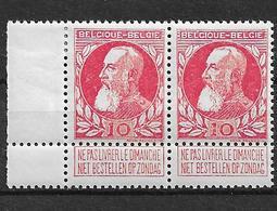 OBP74 In Paar, Postfris** Met Scharnier Op Bladboord En Stukje Op Zegel 2 - 1905 Grosse Barbe