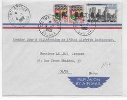 """ALGERIE - 1962 - TIMBRES De FRANCE SURCHARGES EA Sur ENVELOPPE De COLOMB-BECHAR """"1° JOUR INDEPENDANCE"""" => OUDJA - Algeria (1962-...)"""