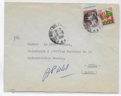 ALGERIE - 1962 - MIXTE TIMBRES De FRANCE / SURCHARGE EA Sur ENVELOPPE De SIDI-BEL-ABBES => OUDJA - Algérie (1962-...)