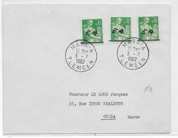 ALGERIE - 1962 - TIMBRES De FRANCE SURCHARGE EA Sur ENVELOPPE De MARNIA TLEMCEN => OUDJA - Algérie (1962-...)
