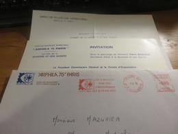 Arphila 75 Enveloppe Et Invitation Cocktail Et Journée Jeunesse Et Sports Par Ministre Pierre MAZEAUD - Ganzsachen