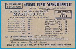 1952 BEURRES OEUFS FROMAGES MARIE-LOUISE 316 COURS LAFAYETTE LYON TARIF 3e ANNIVERSAIRE D'OUVERTURE - Publicités