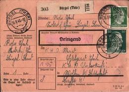 ! 1943 Paketkarte, Deutsches Reich, Bürgel In Thüringen, KHD Wolfen - Allemagne