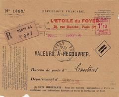 1926- DEVANT  De V à R De Paris 84 Affr. Empreinte 1f10 A0278 Du 29 SEPT - Marcophilie (Lettres)