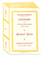 Programme - MARCHE - EN - FAMENNE - Centenaire De L'Ecole Moyenne Athénée Royal   1951 (b273) - Programas