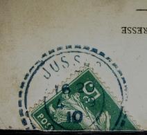"""Jussac 1910 (Cantal) Cachet Tireté Bleu, Sur Carte Postale """"le Berceau En Auvergne"""", Pour Phalempin (Nord) - 1877-1920: Periodo Semi Moderno"""