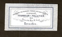 Petite Carte Publicité Ancienne - Fourreur-Pelletier - Nouvelle Rue St Jean - Bruxelles - Reclame