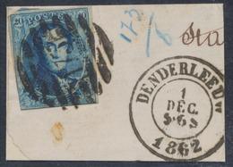 Médaillon - N°11 (touché) Sur Fragment Obl P173 çàd Denderleeuw 1/12/62 - 1858-1862 Medaillen (9/12)