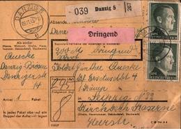 ! 1943 Paketkarte, Deutsches Reich, Danzig - Danzig