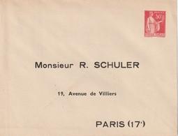 Enveloppe Repiquage Au Type Paix N 283 Schuler Paris 17 - Ganzsachen