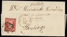 1855. PONTEVEDRA A SANTIAGO. 4 CUARTOS ROJO INTENSO ED. 48 VARIEDAD TONALIDAD. FECHADOR TIPO I. BONITA ENVUELTA. - 1850-68 Royaume: Isabelle II