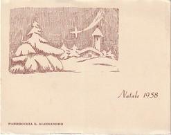 BIGLIETTO NATALIZIO NATALE 1958 PARROCCHIA S. ALESSANDRO DON GUIDO FERRARI - Christmas