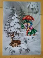 KOV 8-178 - NEW YEAR, Bonne Annee, Children, Enfant, - Fawn, Faon - Nouvel An