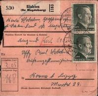 ! 1943 Paketkarte, Deutsches Reich, Eilsleben, Landpoststempel Groppendorf Nach Borna - Storia Postale