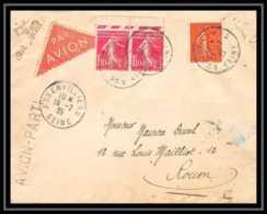 41981 238 Semeuse Paire PIQUAGE A CHEVAL Griffe Avion Parti Via Air Bleu Aubervillier Rouen 1935 Aviation Poste Aérienne - Posta Aerea