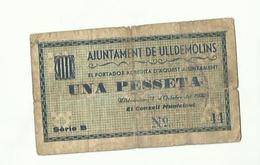 AJUNTAMENT DE ULLDEMOLINS UNA PESSETA ULLDEMOLINS ET CONSELL MUNICIPALno 44  1932 - 1-2 Pesetas