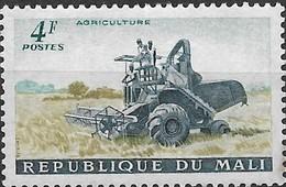 MALI 1961 Combine-harvester In Rice Field - 4f - Blue, Green And Bistre MH - Mali (1959-...)