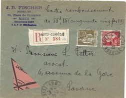 Lettre Recommandée Contre Remboursement, METZ COMEDIE / MOSELLE 3.2.1933 - Marcophilie (Lettres)