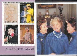 Tanzania - Correo Yvert 1744/7+H 257 ** Mnh   Reina Madre - Tansania (1964-...)
