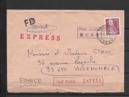 JAPAN EXPRESS MAIL TO FRANCE - 1926-89 Emperor Hirohito (Showa Era)