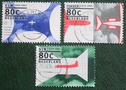 Flugzeuge, Avion, Airplane Fokker NVPH 1605-1607 (Mi 1508-1510); 1994 Gestempeld / USED NEDERLAND / NIEDERLANDE - 1980-... (Beatrix)